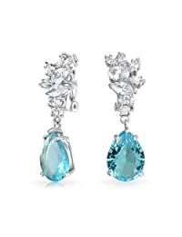 Bling Jewelry Pear Simulated Blue Topaz Cluster CZ Clip Ons Rhodium Plated