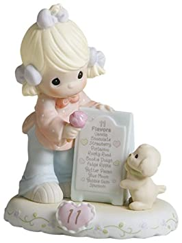 Precious Moments, Birthday Gifts, Growing In Grace, Age 11 , Bisque Porcelain Figurine, Blonde Girl, 260924