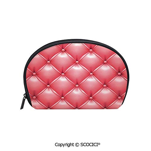 SCOCICI Printed Small Travel Toiletry Cosmetic Pouch Stylized Trendy Fashion Couch Cushion Pattern with Crosses Stripes Image Handy Daily Storage Makeup Bag