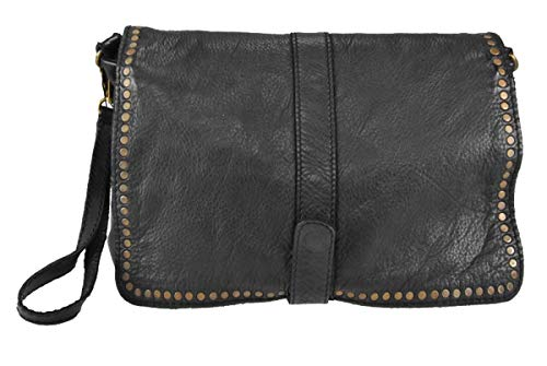 Superflybags Sac à main / embrayage Sac à main en cuir véritable modèle tressé modèle Carmelita Made Italy noir
