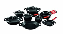 Fundix by Castey 15-Piece Nonstick Cast Aluminium Induction Set with Removable Red Handle