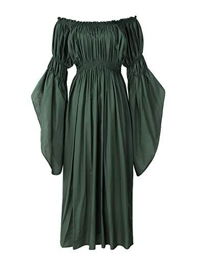 ReminisceBoutique Renaissance Medieval Costume Pirate Faire Celtic Chemise Under Dress (Regular, Green)