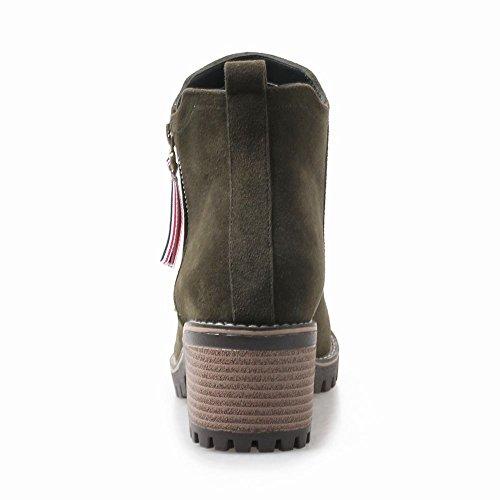 Carolbar Women's Concise Casual Block Mid Heel Zip Winter Short Boots Dark Green 8Su7mFcj