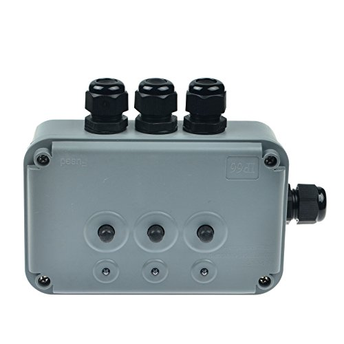 SuperInk 1 Pack 15A 125VAC 3-Gang Power Control Switch Junction Box Weatherproof Outdoor Switched with 3 x Push Switches w/indicators and 4 x 20mm Cable Gland IP66 - Outlet Preminum