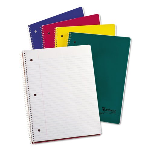 Ampad Single Wire Notebook, Recycled, Size 11 x 8-1/2, 1 Subject, Assorted  Covers, College Ruled With Margin Line ,80 Sheets per Notebook (25-206)