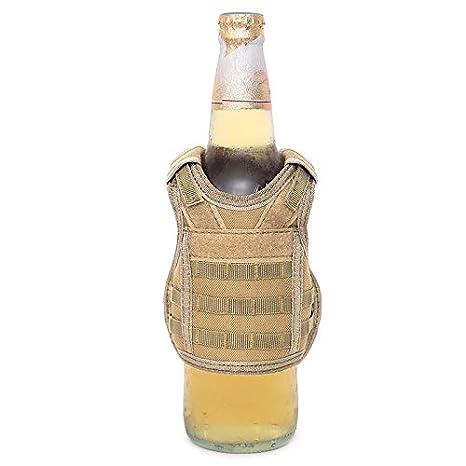 FIRECLUB Tactical Molle Premium Beer Military Molle Mini Miniature Vests Beverage Cooler for 12oz or 16oz Beverages cans and Bottles - Adjustable Shoulder Straps