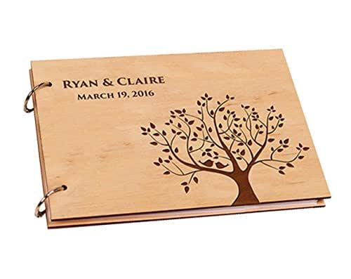 Engraved Wedding Guest Book Alternative Trees Personalized Name and Wedding Date Unique Scrapbook Photo Albums 8 x 12 inches