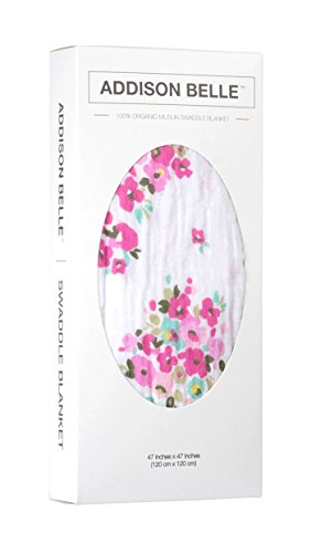 100% Organic Muslin Swaddle Blanket by ADDISON BELLE - Oversized 47 inches x 47 inches - Best Baby Shower Gift - Premium Receiving Blanket (Flower Print)