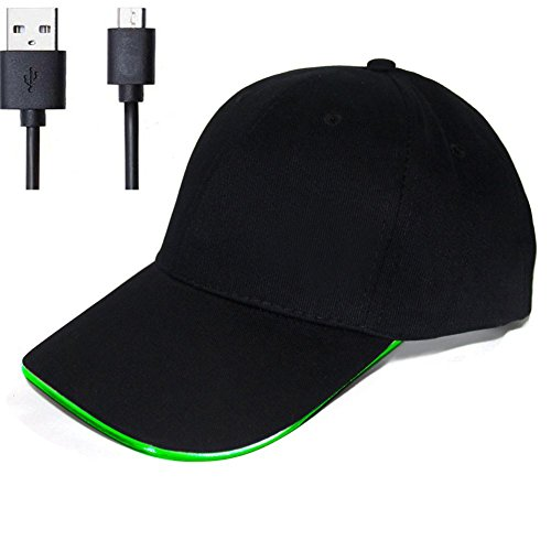 LongYuan Teck Chargeable LED Baseball Flash Hat With USB Cable For Outdoor Entertainment And Sport (Green)