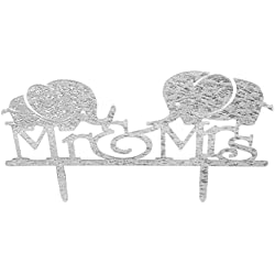 Moon Shine Personalized Mr & Mrs Cake Topper Party Cake Decoration Cute Elephants, Silver