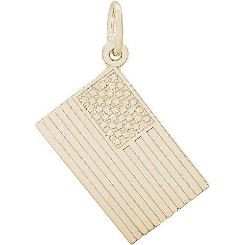 Gold American Flag Charm - 8