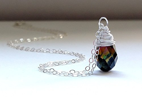 Wire Wrapped Crystal Drop Necklace on a 18 Inches Long Sterling Silver Chain (Sexy Costumes Online)