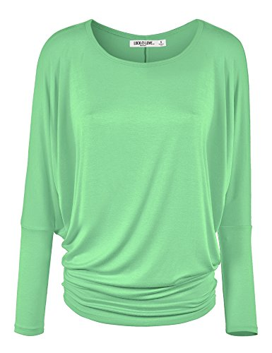 Lock and Love WT826 Womens Batwing Long Sleeve Top M Mint by Lock and Love