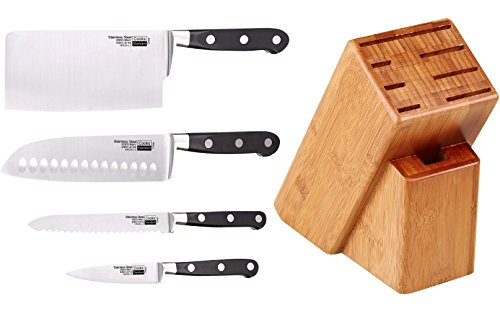 Asian Cooks Knife Set - Cooks Standard 5 Piece Asian Gourmet Chef Knife Set with Expandable Bamboo Block, Stainless Steel