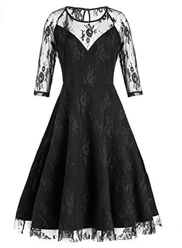 DIANSHANG DREAM Women's 50's 60's A-line Homecoming Bridesmaid Wedding Dress (Period Dress)