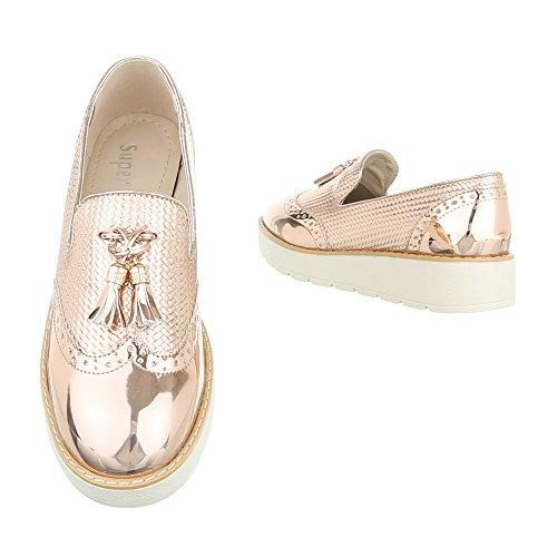 Ital-Design - Zapatillas de casa Mujer Rosa Gold 62038