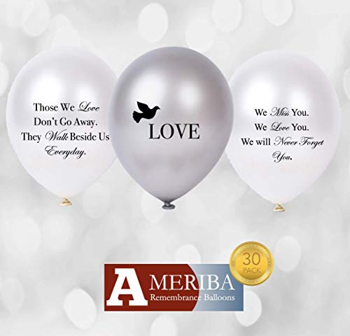 Biodegradable Remembrance Balloons: 30pc White & Silver Personalizable Funeral Balloons for Balloon Releases & Sympathy Gifts | Created/Sold by AMERIBA, a USA Company (Variety Pack, Black -