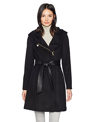 Cole Haan Women's Belted Asymmetrical Wool Coat with Oversized Hood, Black, 6