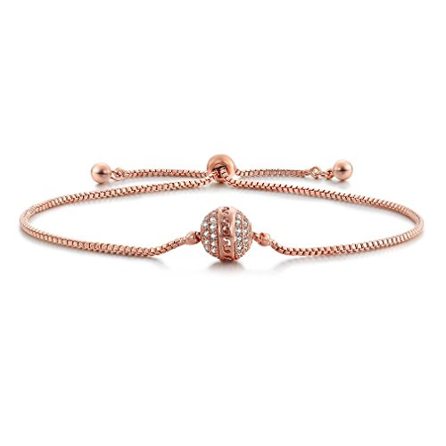 (SHINCO Bella Lotus Starry Bead 18k Rose Gold Plated Cubic Zirconia Paved Adjustable Women Charm Bracelets, Gifts for Love, Birthday, Valentine's Day, Anniversary)
