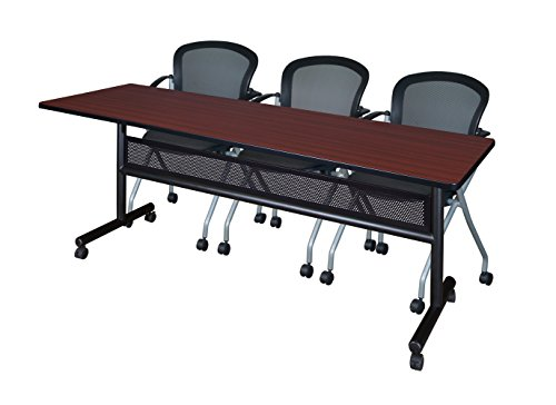 (Regency MKFTM8424MH23BK Mobile Training Table with Modesty and 3 Cadence Nesting Chairs, 84 x 24 inch, Mahogany)