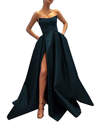 Ever-Beauty Womens Long Strapless Satin Prom Dress Sleeveless Slit Evening Ball Gown with Pockets Navy Blue Size 4