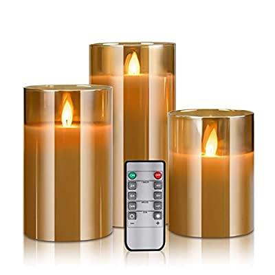 """YMing LED Flameless Candles Battery Operated, Real Wax Moving Effect Flickering Glass Candle Sets Cycling 24 Hours with Remote Timer, 4"""" 5"""" 6"""" Pack of 3"""