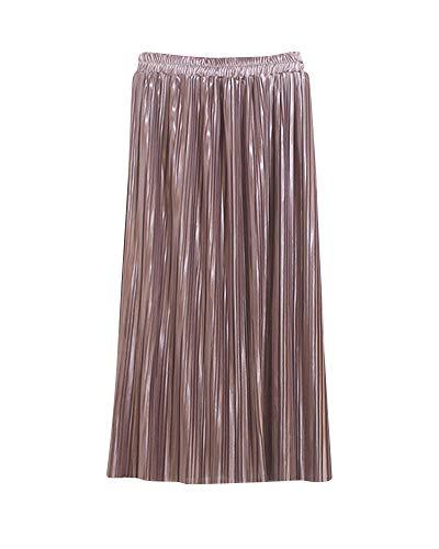 Jupe Coupe lastique Unie Femme Jupe Yonglan Haute Pink Brillante Couleur Midi Jupe Taille Plisse Slim Taille HA0HOwq