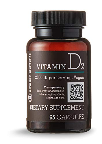 Amazon Elements Vitamin D2 2000 IU, Vegan, 65 Capsules, 2 month supply