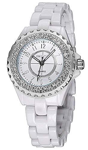 Women's Diamonds White Ceramic Analog Quartz Wristwatch Girls Fashion Casual Waterproof Watch