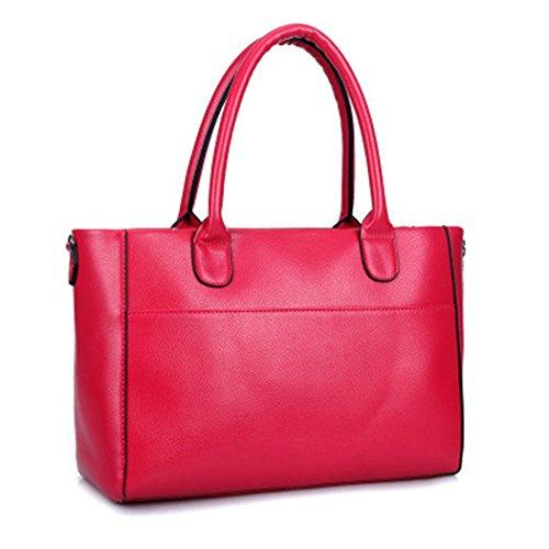 Rouge DEERWORD Sacs main main Sacs Sacs Sacs Rose portés Femme Cartable portés épaule à bandoulière Faux Cuir Sacs frwSIxaqf