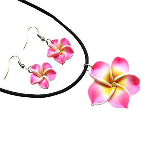 Donau Plumeria Fimo Flower Earring Pendant Necklace Jewelry Set 6Colors (Fimo Hawaiian Flower)