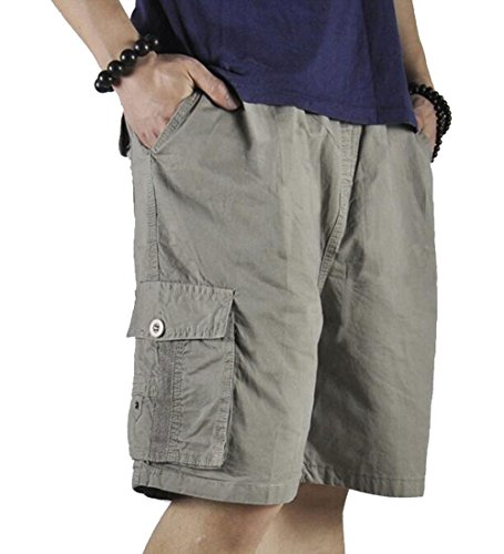 XinnanDe Mens Cotton Loose Twill Cargo Short with Full Elastic Waist Khaki L ()