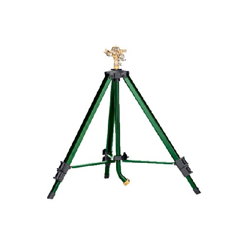2 Pack - Orbit Heavy Duty Brass Lawn Impact Sprinkler on Tripod Base, Yard Watering - (Brass Tripod)