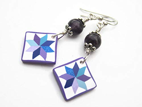 Quilt Block Earrings, Sterling Silver, Purple Amethyst Quilters Jewelry, Limited Edition Polymer Clay LeMoyne Star