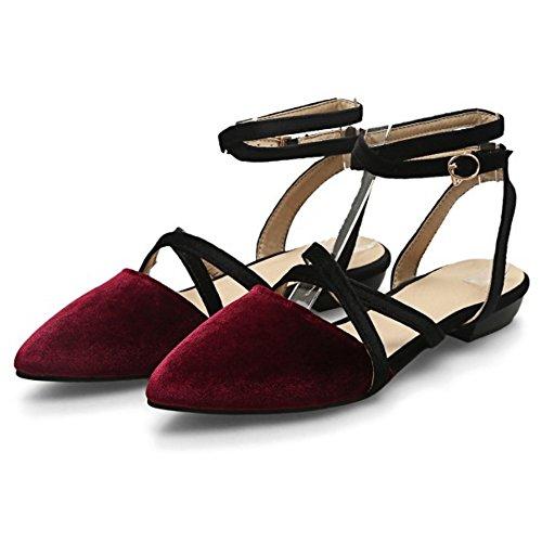 COOLCEPT Mujer Moda Criss Cruzado Correa Sandalias Plano Slingback Cerrado Zapatos Tamano Rojo