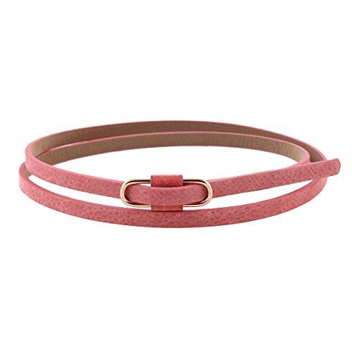 Belt Peach (Damara Womens Premium PU Retro Jeans Slim Waist Belt,Peach)