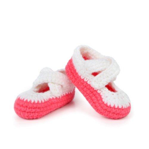 Smile YKK Gestrickte Krabbelschuhe Schuhe flauschige Baby-Unisex Länge 11 cm Flip Flops Violett Einfarbig Korallenrot O