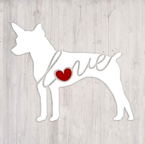 Rat Terrier Love - Car Window Vinyl Decal Sticker (Script -
