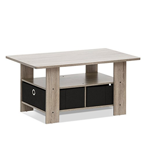 Furinno 11158GYW/BK Coffee Table with Bin Drawer, French Oak Grey/Black (Coffee With Wooden Table Drawers)