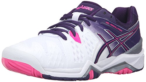 ASICS Women's Gel-Resolution 6 Tennis Shoe, White/Parachute Purple/Hot Pink, 12 M US