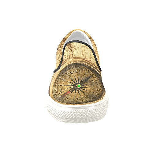 on Slip and Custom Sneaker Shoes D Compass Story Women 019 Canvas Model Vintage Map Unusual World qpRg1