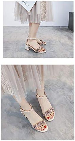 Gywttg Sandali da Donna Open Toe, Scarpe con Tacco Alto con Fibbia per Cintura Sandali da Donna con Tacco Alto Spesso Scarpe Estive da Donna,B,37EU