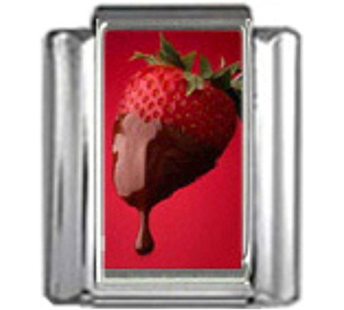 (Stylysh Charms Strawberry Chocolate Coated Photo Italian 9mm Link FO019)