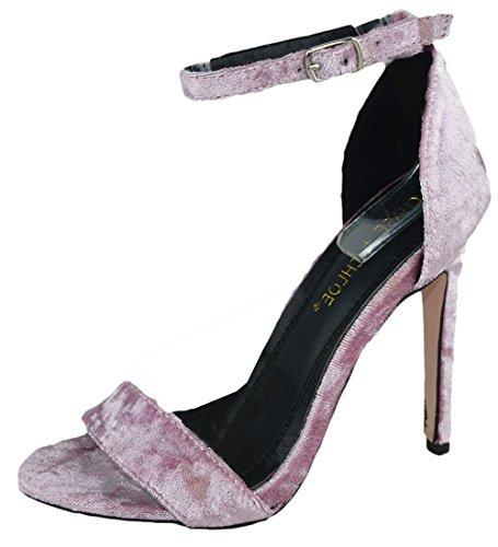 Chase & Chloe Women's Crushed Velvet Strappy Heeled Sandal (6.5 B(M) US, (Chloe Strappy Sandals)