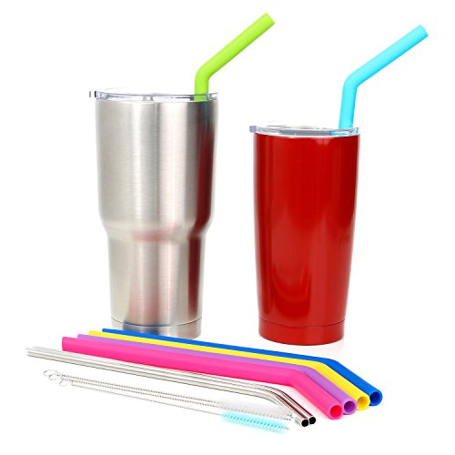 Big Silicone Straws for 30 oz Tumbler Yeti/Rtic Complete Bundle - Reusable Silicone Straws Set of 6 - Stainless Steel Straws Extra Long - Brushes and Storage Pouch Included by Kitchen Up (Image #3)