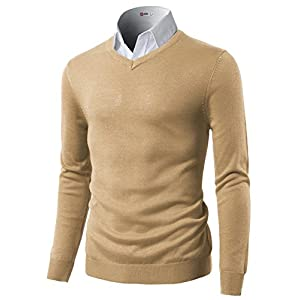 H2H Mens Slim Fit Basic Knitted Longsleeve V-Neck Pullover Sweaters