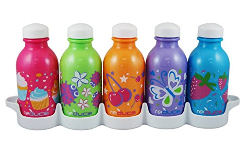 reduce WaterWeek Kids Classic Reusable Water Bottle Set with Fridge Tray Organizer - 5 Flask Pack, 10oz - BPA-Free Plastic, Leak-Proof Twist Cap - Ideal Bottles for School Lunchboxes -Fill, Chill & Go