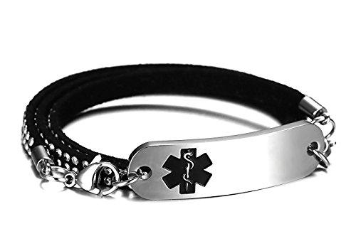 JF.JEWELRY 3 Layers Black Velvet Leather Rivets Wrap Medical Alert ID Bracelet for Women,Free Engraving
