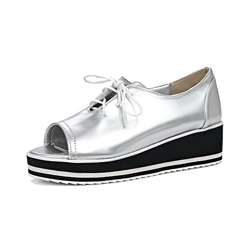 AllhqFashion Womens Open-Toe Lace-Up PU Solid Kitten-Heels Pumps-Shoes Silver 2cYnUM