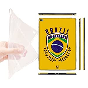 Head Case Designs Brazil Football Crest hard Gel Back Case Cover for Apple iPad Air 2